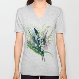 Lilies of the Valley, spring floral design flowers sring design wood flowers Unisex V-Neck