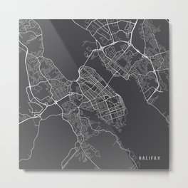 Halifax Map, Canada - Gray Metal Print