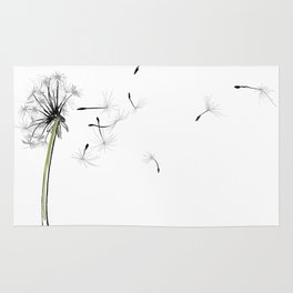 dandelion on the fish - flowers in the breeze Rug
