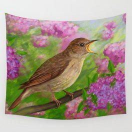 Spring nightingale Wall Tapestry
