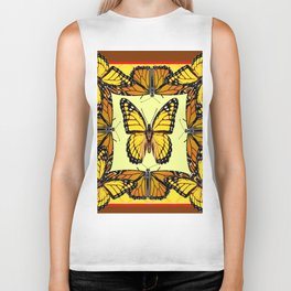 ORIGINAL DESIGN  ABSTRACT OF YELLOW & ORANGE MONARCH BUTTERFLIES BROWN ART Biker Tank