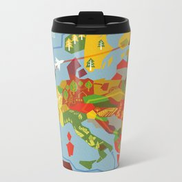 Abstract European Travel Map Metal Travel Mug