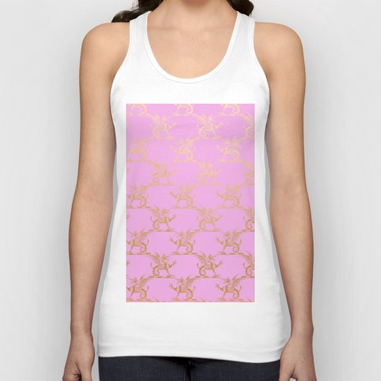 Princess like I - Gold glitter effect lion pattern on pink background #Society6 Unisex Tank Top