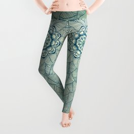 Emerald Green, Navy & Cream Floral & Leaf doodle Leggings
