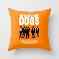reservoir dogs Throw Pillows featuring Reservoir Dogs Movie Poster by FunnyFaceArt