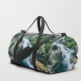 Wild river in Europe mountains Duffle Bag