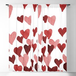 Valentine's Day Watercolor Hearts - red Blackout Curtain