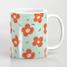 Simple Pretty Orange Flowers Pattern Mug