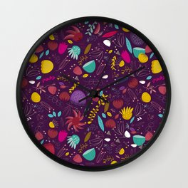 purple seeds Wall Clock