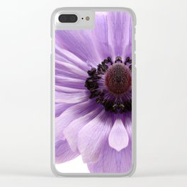 Lilac Anemone Flower Clear iPhone Case