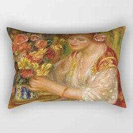"""Auguste Renoir """"Femme Arrangeant Des Fleurs or La Femme Au Bouquet - Andrée"""" Rectangular Pillow"""