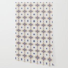 Moroccan Lattice White Beige Capri Rust Wallpaper