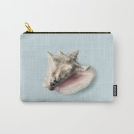 Beige and Pink Shell on Aqua Blue Carry-All Pouch