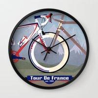 tour de france Wall Clocks featuring Tour De France by Wyatt Design