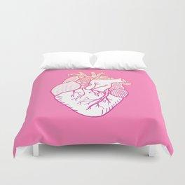 Designer Heart Pink Background Duvet Cover