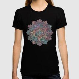 Winter Sunset Mandala in Charcoal, Mint and Melon T-shirt