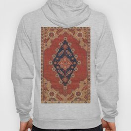 Southwest Tuscan Shapes II // 18th Century Aged Dark Blue Redish Yellow Colorful Ornate Rug Pattern Hoody