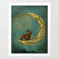 rug Art Prints featuring Moon Travel by Eric Fan