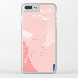 Kisses: a pretty abstract mixed media piece in pink and blue Clear iPhone Case