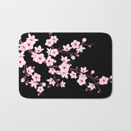 Cherry Blossoms Pink Black Bath Mat