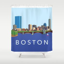 Back Bay Boston Skyline Shower Curtain