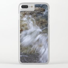 Crashing wave in a rocky beach Clear iPhone Case