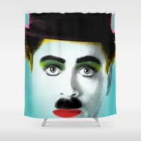 chaplin Shower Curtains featuring charlie chaplin by mark ashkenazi