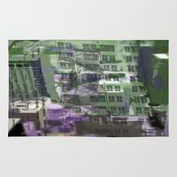 houston Area & Throw Rugs featuring Downtown Houston by TheBigBear