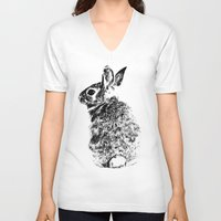 rabbit V-neck T-shirts featuring Rabbit by Anna Shell