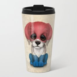 Cute Puppy Dog with flag of The Netherlands Travel Mug