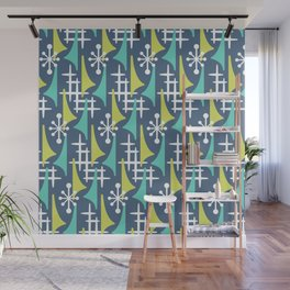 Mid Century Modern Atomic Wing Composition 55 Blue Turquoise and Chartreuse Wall Mural