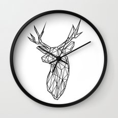 Black Line Faceted Stag Trophy Head Wall Clock