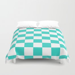 Checkered - White and Turquoise Duvet Cover