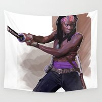 the walking dead Wall Tapestries featuring The Walking Dead - Mishonne by Vito Fabrizio Brugnola