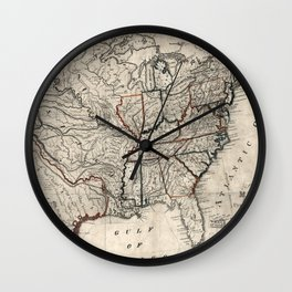United States - Map including Louisiana - 1818 Wall Clock
