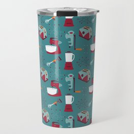 Retro Kitchen - Teal and Raspberry Travel Mug