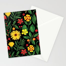 Black yellow orange green watercolor tulips daisies pattern Stationery Cards