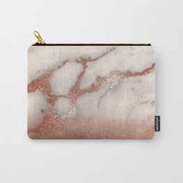 Shiny Copper Metal Foil Gold Ombre Bohemian Marble Carry-All Pouch