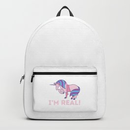 I'm Real Bisexual Cute Unicorn Bi Flag Colors Pride LGBT Humor Pun Design Cool Gift Backpack