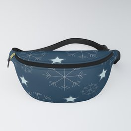 Snowflakes and stars - blue Fanny Pack