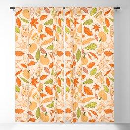 Pumpkin Spice Season Latte and Fall Leaves Pattern Blackout Curtain