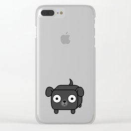 Pitbull Loaf - Black Pit Bull with Floppy Ears Clear iPhone Case
