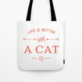 Life Is Better With A Cat - Cherry Red Tote Bag
