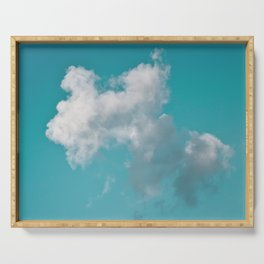 Floating cotton candy with blue green Serving Tray