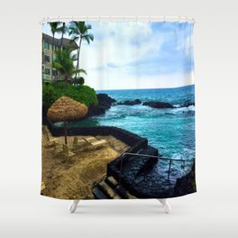 Hawaiian Beach Scene Lava Rocks on the Big Island Shower Curtain