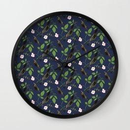Birds and Blackberries Wall Clock