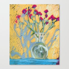Carnation flowers in a vase. Soft pastel. Still life.  Canvas Print