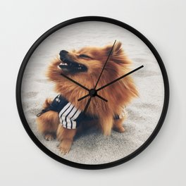 Beach Life Pomeranian Wall Clock