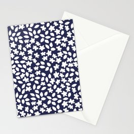Apple Blossom Wild Flower and Leaves - Navy Blue and White Stationery Cards