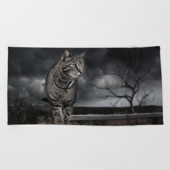 Cat on the Prowl  Beach Towel